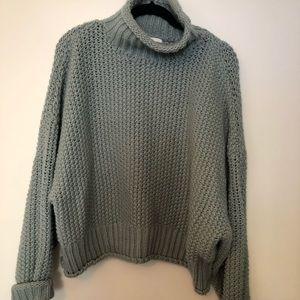 Chunky knit sweater mock neck